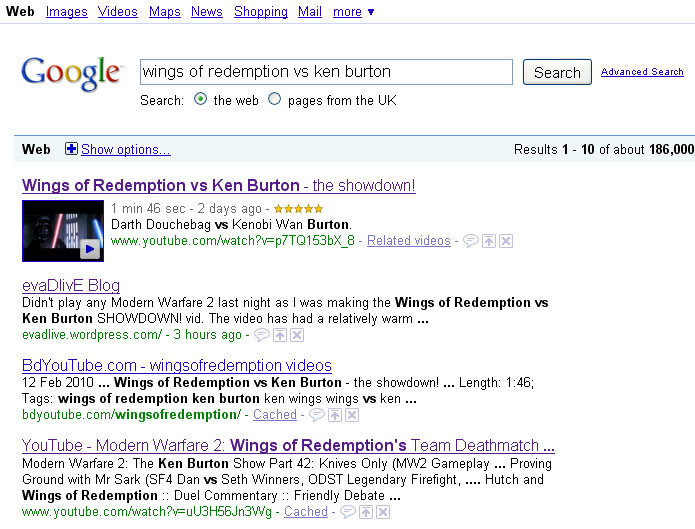Wings of Redemption vs Ken Burton Google results